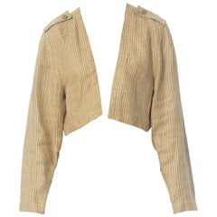 1980S GIANNI VERSACE Patterned Linen Jacket With Epaulettes