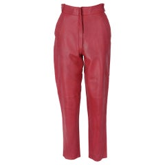 1980s Gianni Versace Red Genuine Leather Trousers