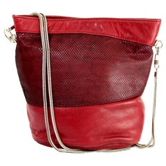 Gianni Versace Red Reptile Leather Shoulder Bucket Bag 1980s
