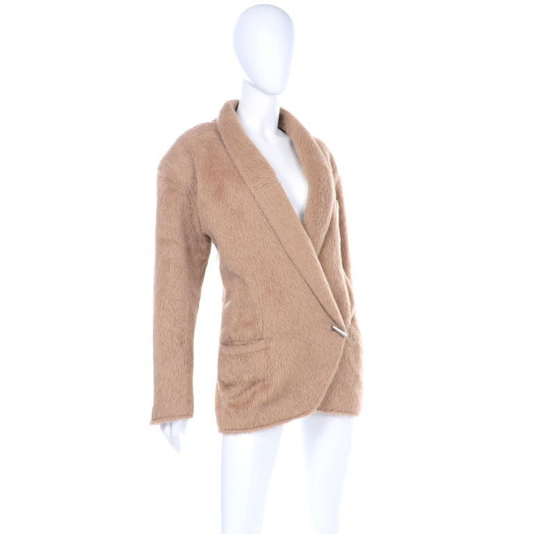 Brown 1980s Gianni Versace Vintage Camel Alpaca Oversized Jacket With Shawl Collar For Sale