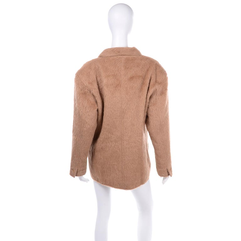 1980s Gianni Versace Vintage Camel Alpaca Oversized Jacket With Shawl Collar In Excellent Condition For Sale In Portland, OR