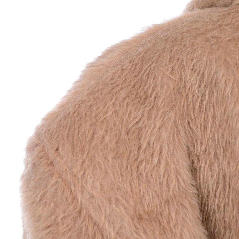 1980s Gianni Versace Vintage Camel Alpaca Oversized Jacket With Shawl Collar For Sale 1