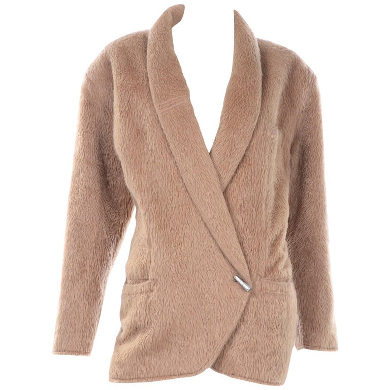 1980s Gianni Versace Vintage Camel Alpaca Oversized Jacket With Shawl Collar For Sale