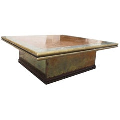 1980s Gilded Brass Rodolfo Dubarry Square Coffee Table Made in Spain
