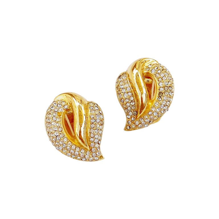 1980s Gilt Abstract Leaf Earrings With Crystal Rhinestone Pavé By Christian Dior For Sale