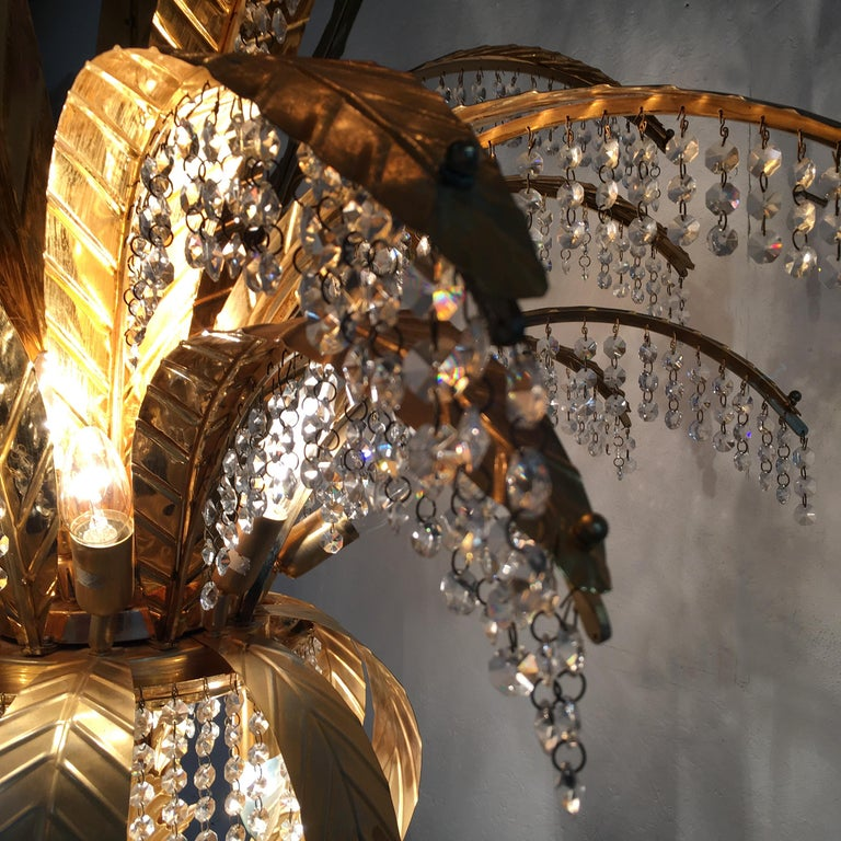 1980s Gilt Crystal Palm Tree Floor Lamp