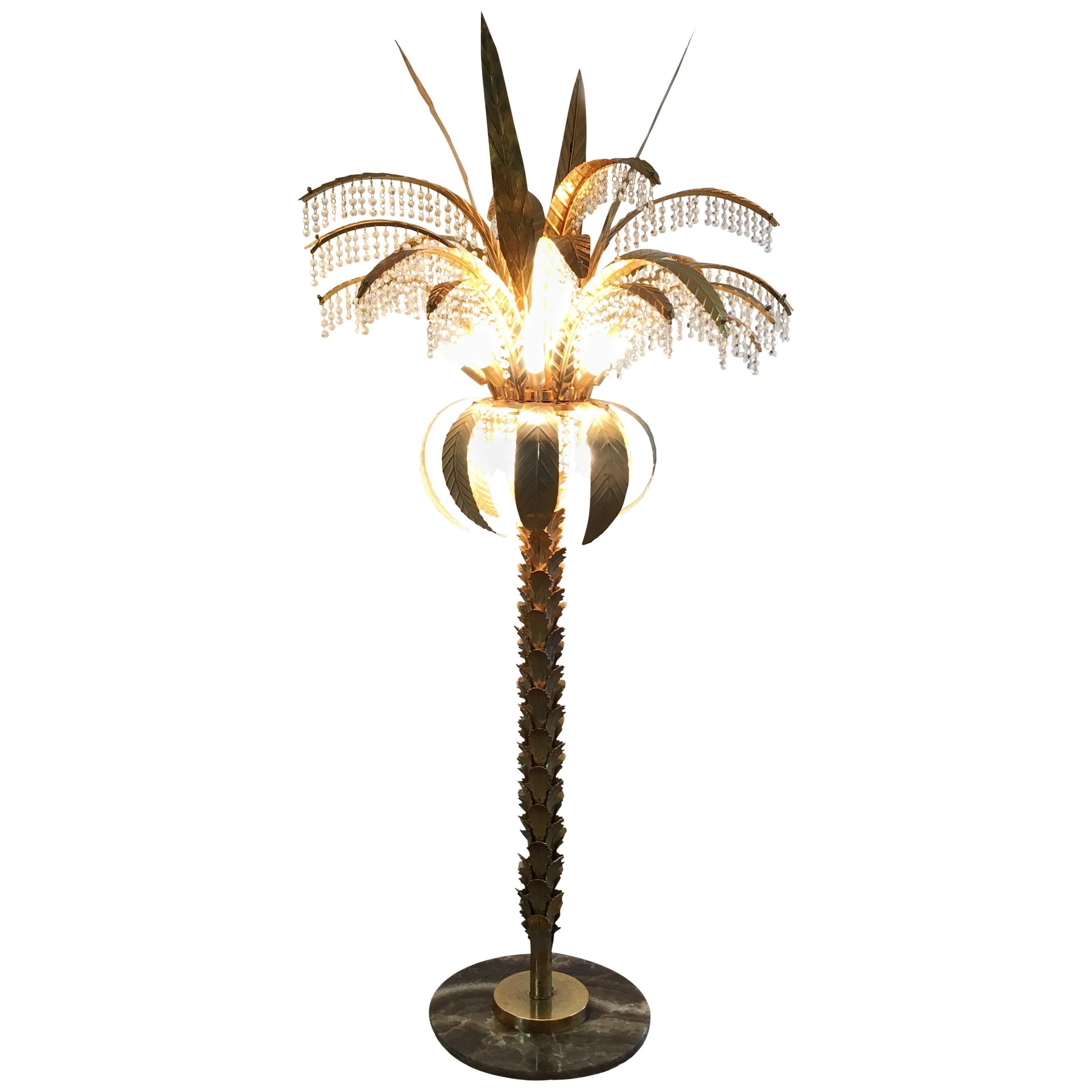 1980s Gilt Crystal Palm Tree Floor Lamp