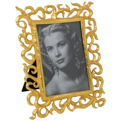 1980s Gilt Metal Picture Frame by French Designer Edouard Rambaud