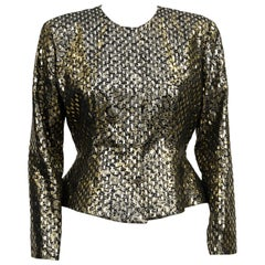 1980s Giorgio Armani Black and Gold Metallic Brocade Peplum Jacket