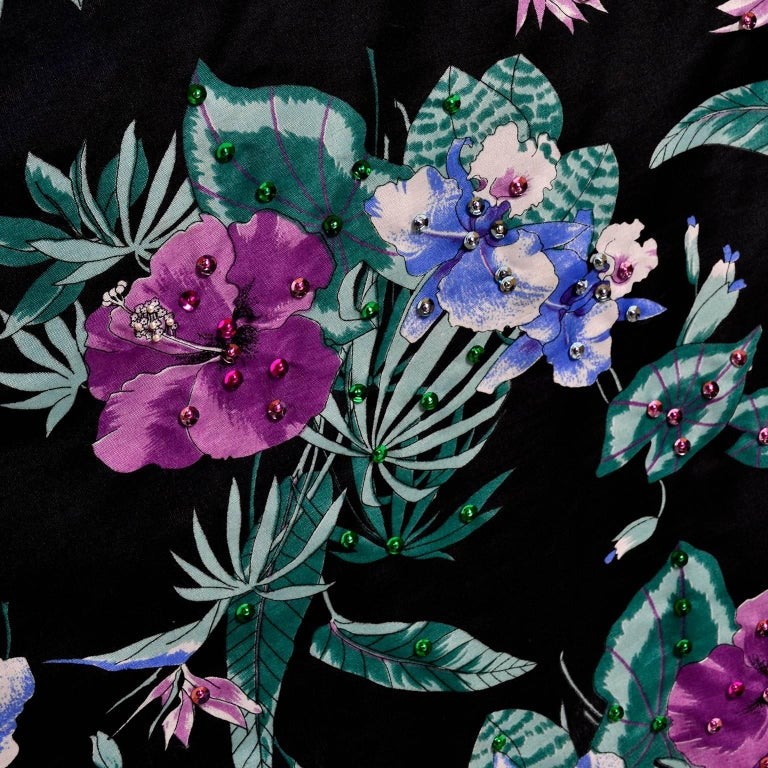 Giorgio di Sant' Angelo Skirt in Black Cotton Floral Print With Sequins, 1980s  For Sale 1