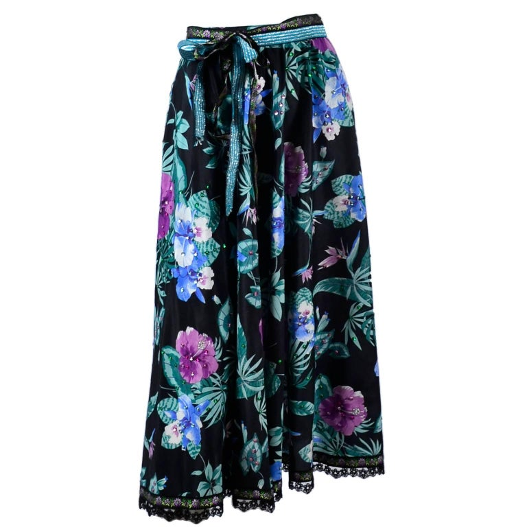 Giorgio di Sant' Angelo Skirt in Black Cotton Floral Print With Sequins, 1980s  For Sale