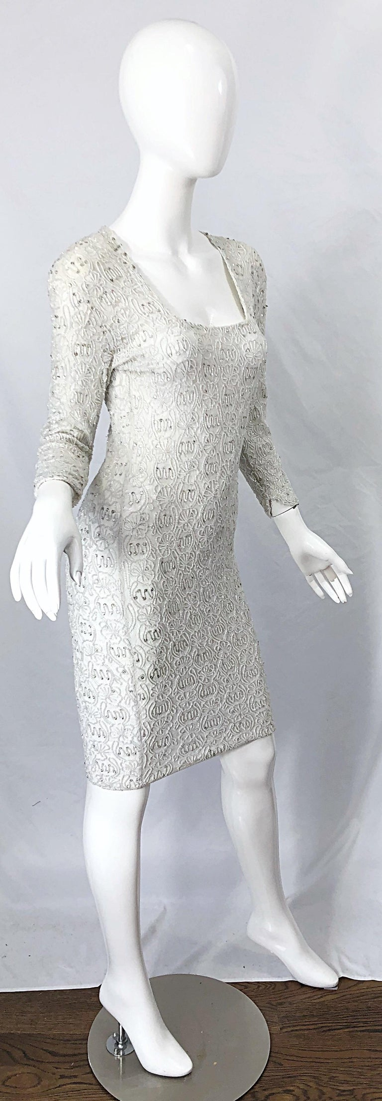 1980s Giorgio di Sant Angelo White Beaded Rhinestone Vintage 80s Bodycon Dress For Sale 5