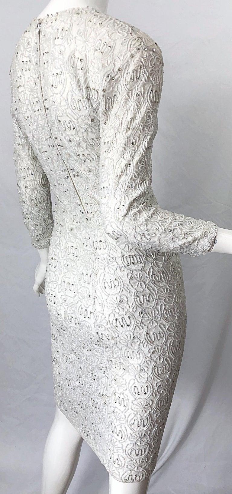 1980s Giorgio di Sant Angelo White Beaded Rhinestone Vintage 80s Bodycon Dress For Sale 6