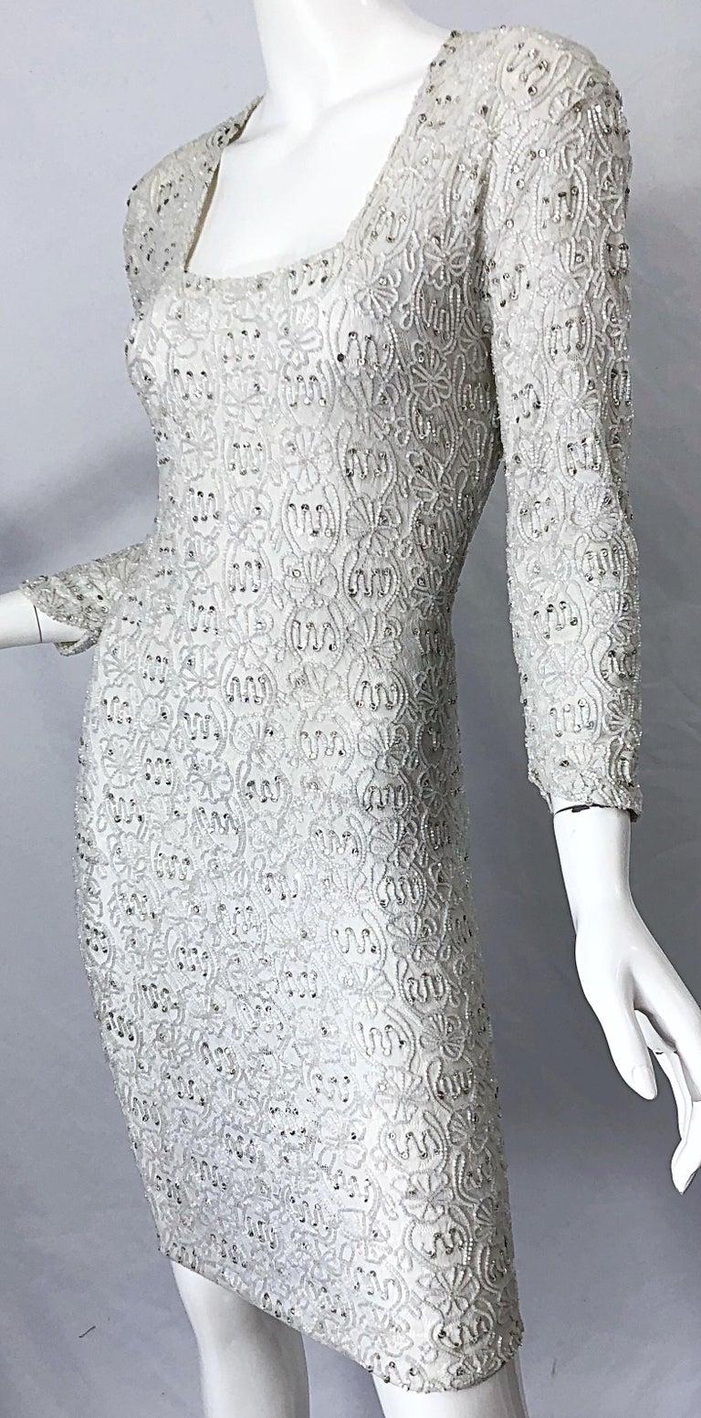 1980s Giorgio di Sant Angelo White Beaded Rhinestone Vintage 80s Bodycon Dress For Sale 7