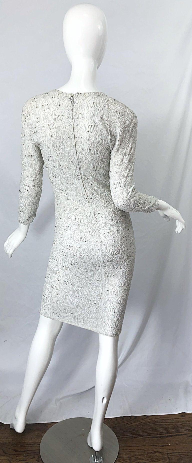 1980s Giorgio di Sant Angelo White Beaded Rhinestone Vintage 80s Bodycon Dress For Sale 8