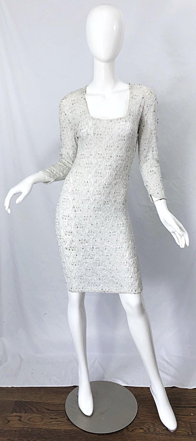 1980s Giorgio di Sant Angelo White Beaded Rhinestone Vintage 80s Bodycon Dress For Sale 9