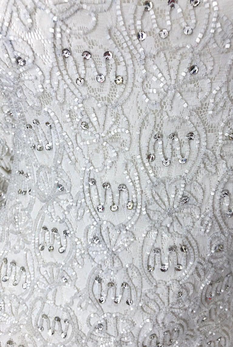 1980s Giorgio di Sant Angelo White Beaded Rhinestone Vintage 80s Bodycon Dress In Excellent Condition For Sale In Chicago, IL