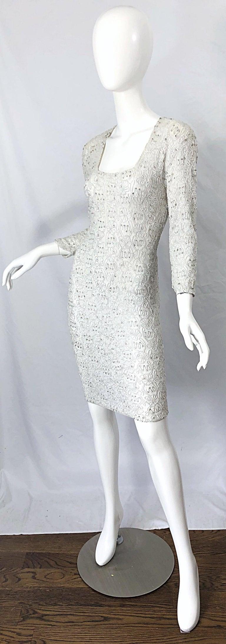 Women's 1980s Giorgio di Sant Angelo White Beaded Rhinestone Vintage 80s Bodycon Dress For Sale