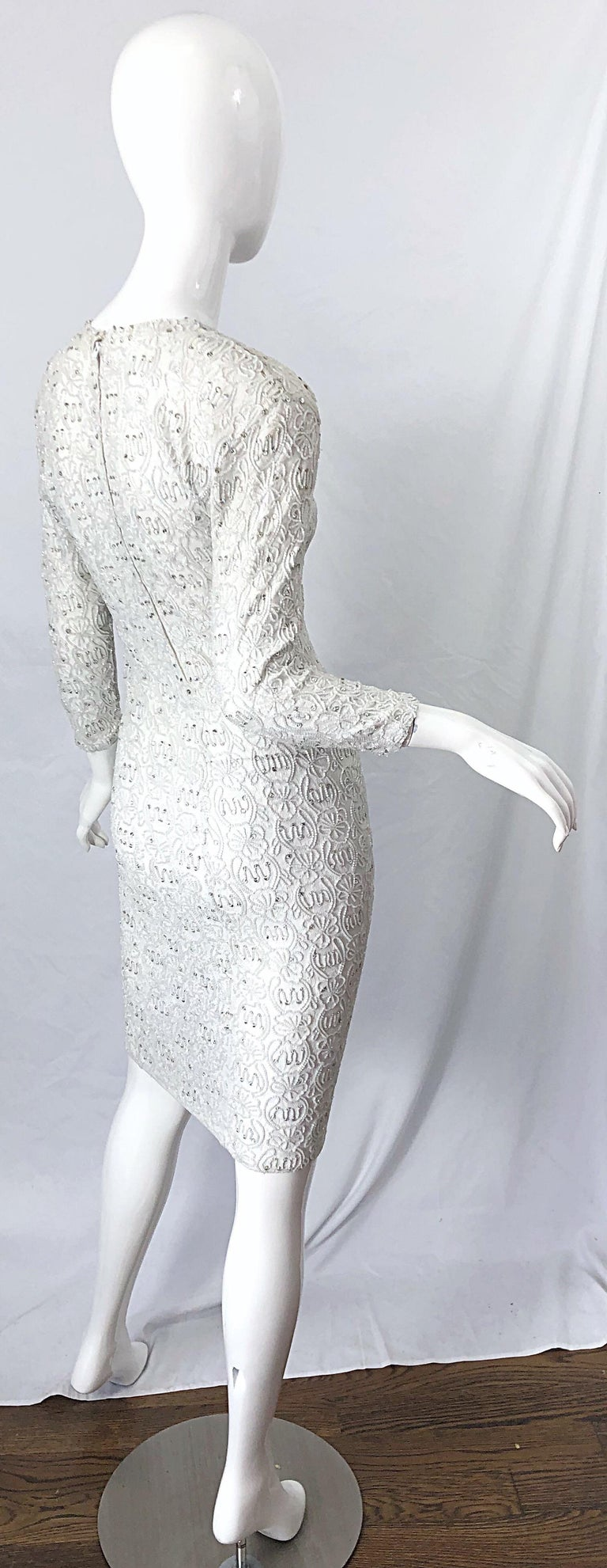 1980s Giorgio di Sant Angelo White Beaded Rhinestone Vintage 80s Bodycon Dress For Sale 1