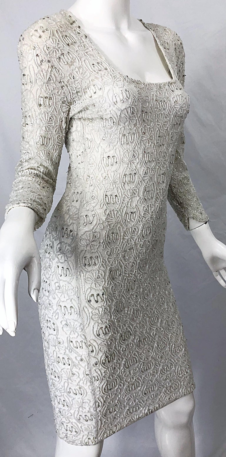1980s Giorgio di Sant Angelo White Beaded Rhinestone Vintage 80s Bodycon Dress For Sale 2