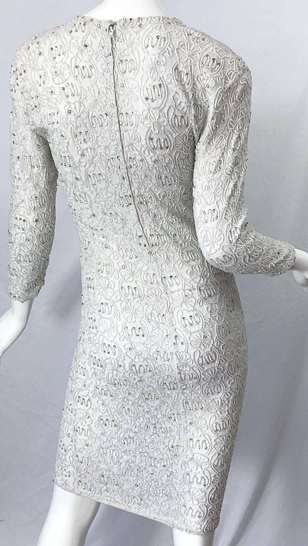 1980s Giorgio di Sant Angelo White Beaded Rhinestone Vintage 80s Bodycon Dress For Sale 3