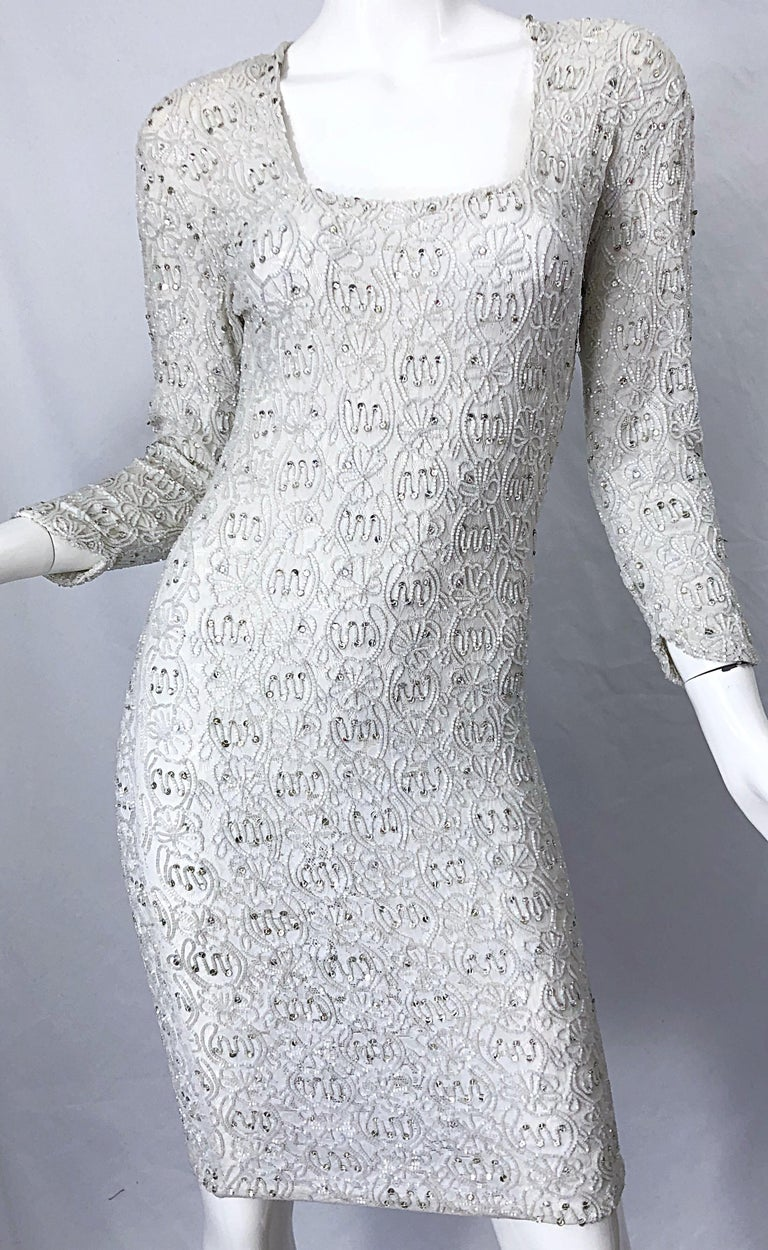1980s Giorgio di Sant Angelo White Beaded Rhinestone Vintage 80s Bodycon Dress For Sale 4
