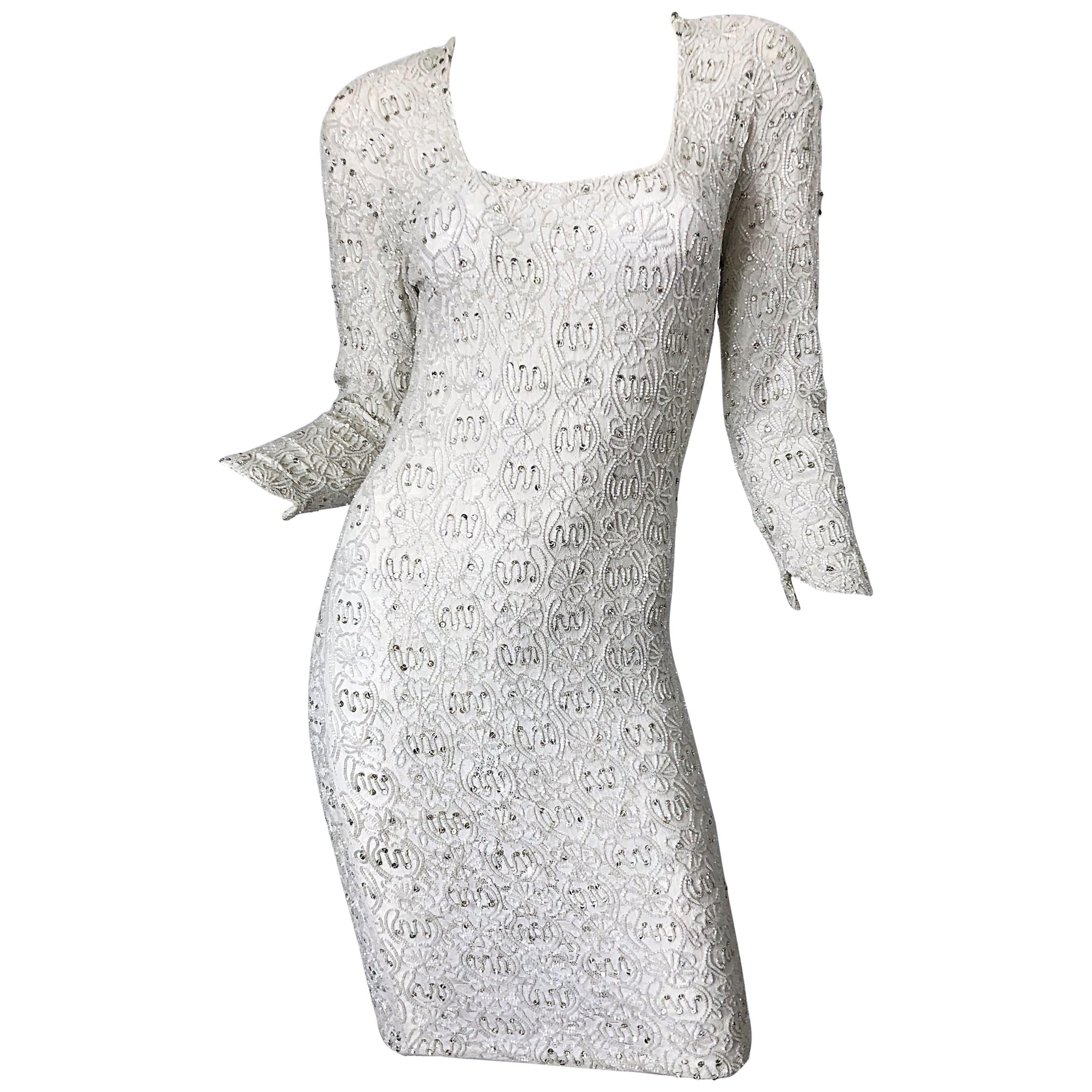 1980s Giorgio di Sant Angelo White Beaded Rhinestone Vintage 80s Bodycon Dress
