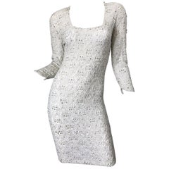 1980s Giorgio di Sant Angelo White Beaded Rhinestone Vintage 80s Bodycon Dress