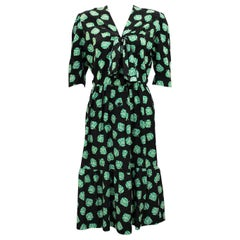 1980s Givenchy Black and Green Leaf Print Dress
