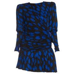 1980S GIVENCHY Black & Blue Haute Couture Silk Jacquard Draped Cocktail Dress W