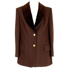 1980s Givenchy Brown Wool Neck Leopard Long Evening Jacket