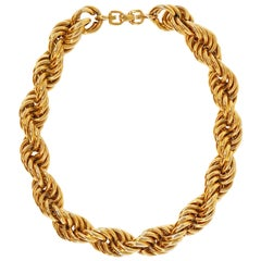 1980s Givenchy Chunky Gold Rope Chain Statement Necklace with G Logo Clasp