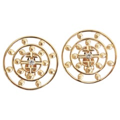 Givenchy 1980s Clip On Medallion Earrings
