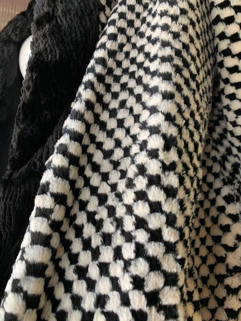 1980s Givenchy Couture Checkerboard Sheared Beaver Coat W/ Black Fur Front Trim For Sale 6