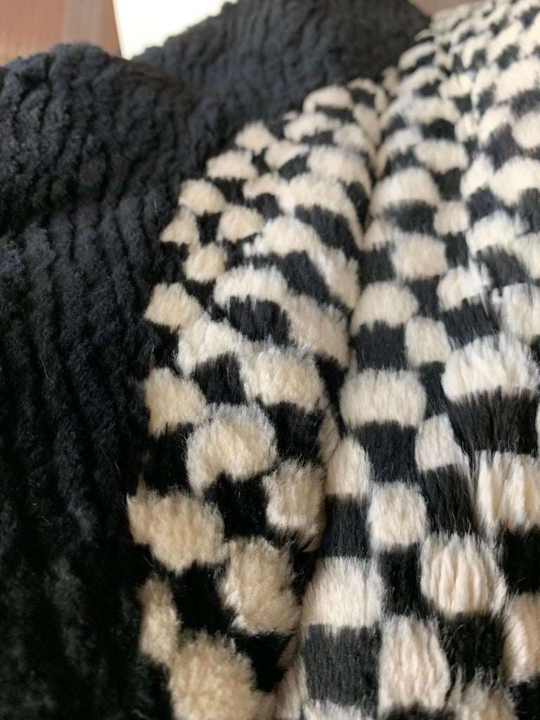 1980s Givenchy Couture Checkerboard Sheared Beaver Coat W/ Black Fur Front Trim For Sale 7
