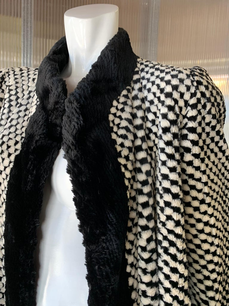 1980s Givenchy Couture Checkerboard Sheared Beaver Coat W/ Black Fur Front Trim For Sale 8