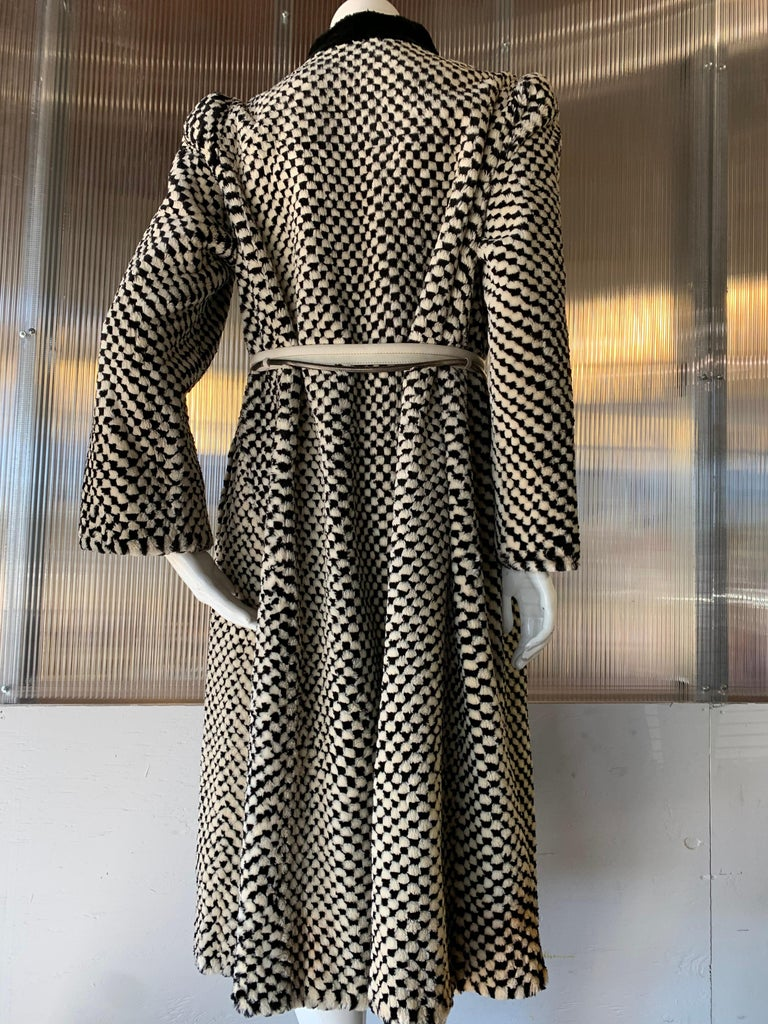 1980s Givenchy Couture Checkerboard Sheared Beaver Coat W/ Black Fur Front Trim In Good Condition For Sale In San Francisco, CA
