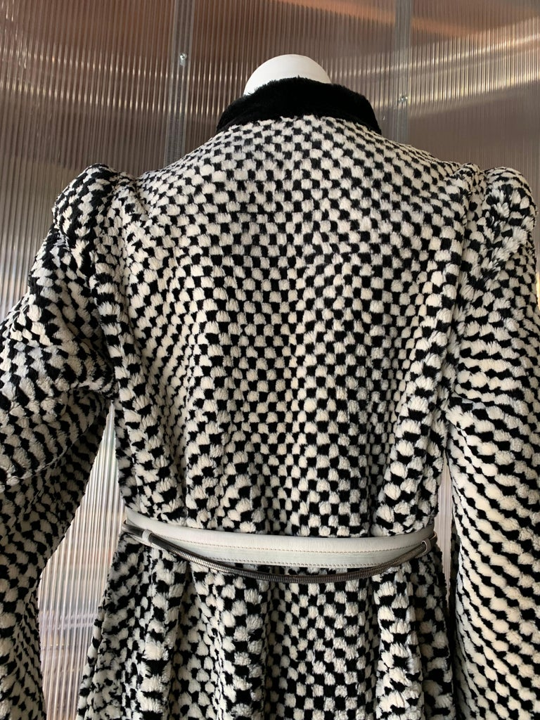 Women's 1980s Givenchy Couture Checkerboard Sheared Beaver Coat W/ Black Fur Front Trim For Sale