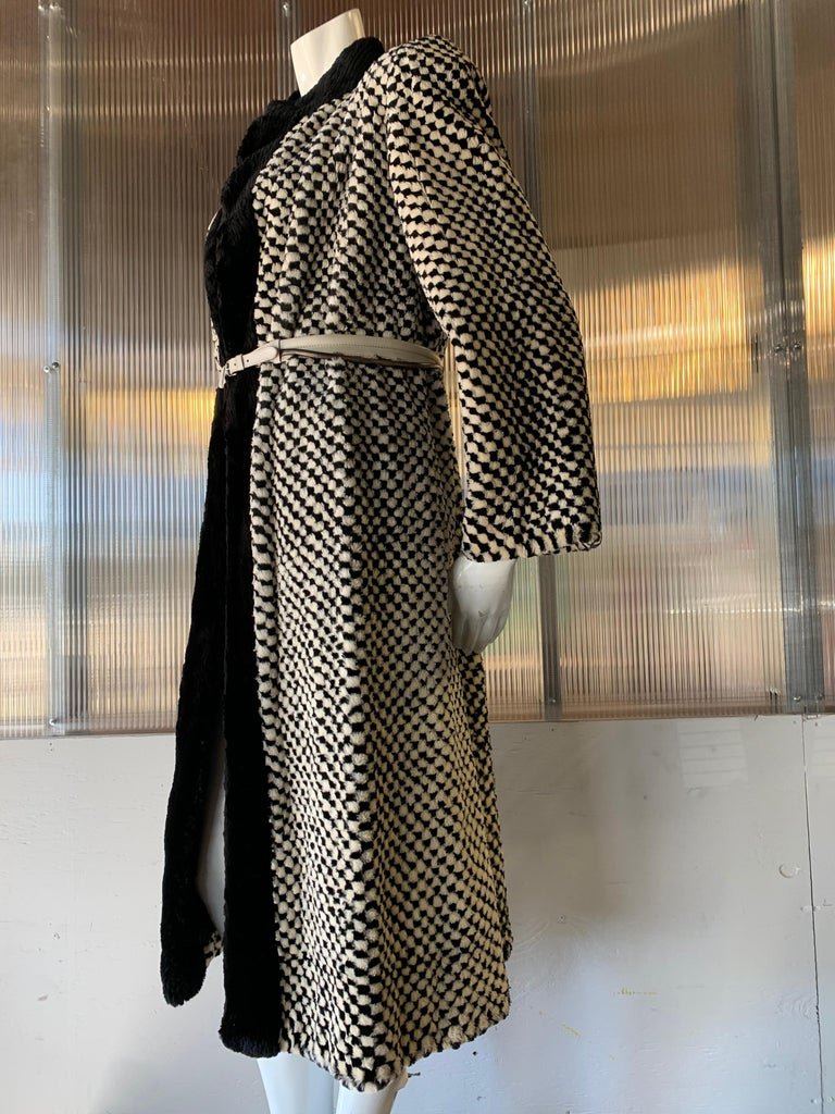 1980s Givenchy Couture Checkerboard Sheared Beaver Coat W/ Black Fur Front Trim For Sale 1