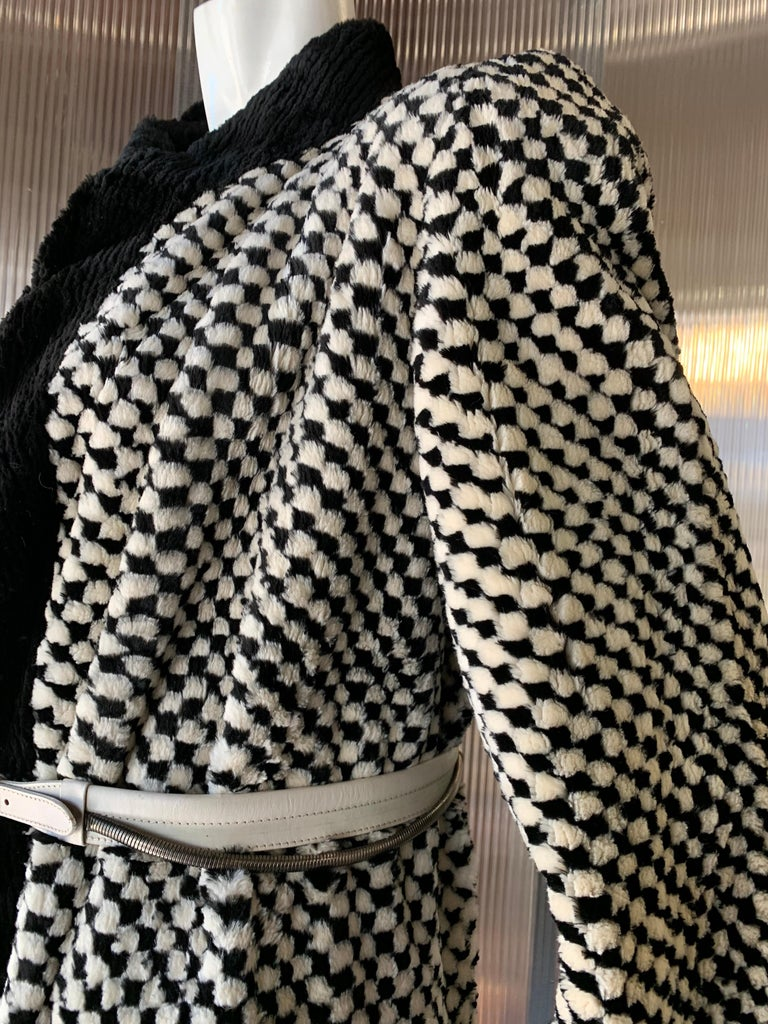 1980s Givenchy Couture Checkerboard Sheared Beaver Coat W/ Black Fur Front Trim For Sale 2