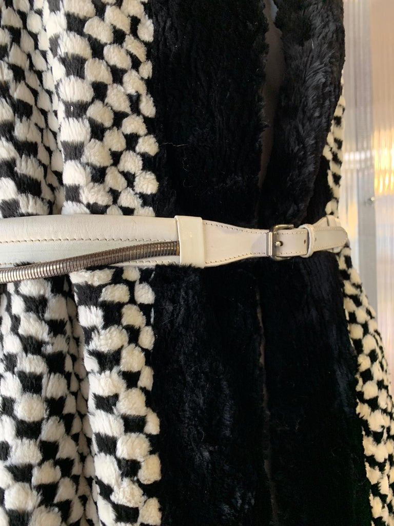 1980s Givenchy Couture Checkerboard Sheared Beaver Coat W/ Black Fur Front Trim For Sale 3