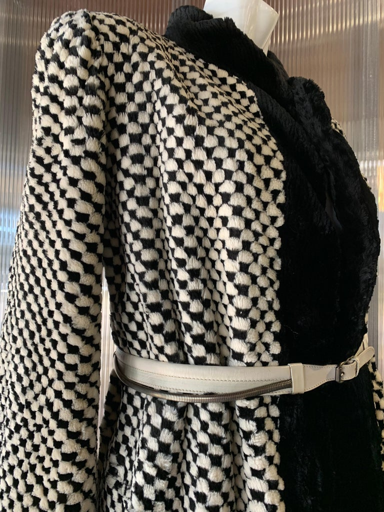 1980s Givenchy Couture Checkerboard Sheared Beaver Coat W/ Black Fur Front Trim For Sale 4