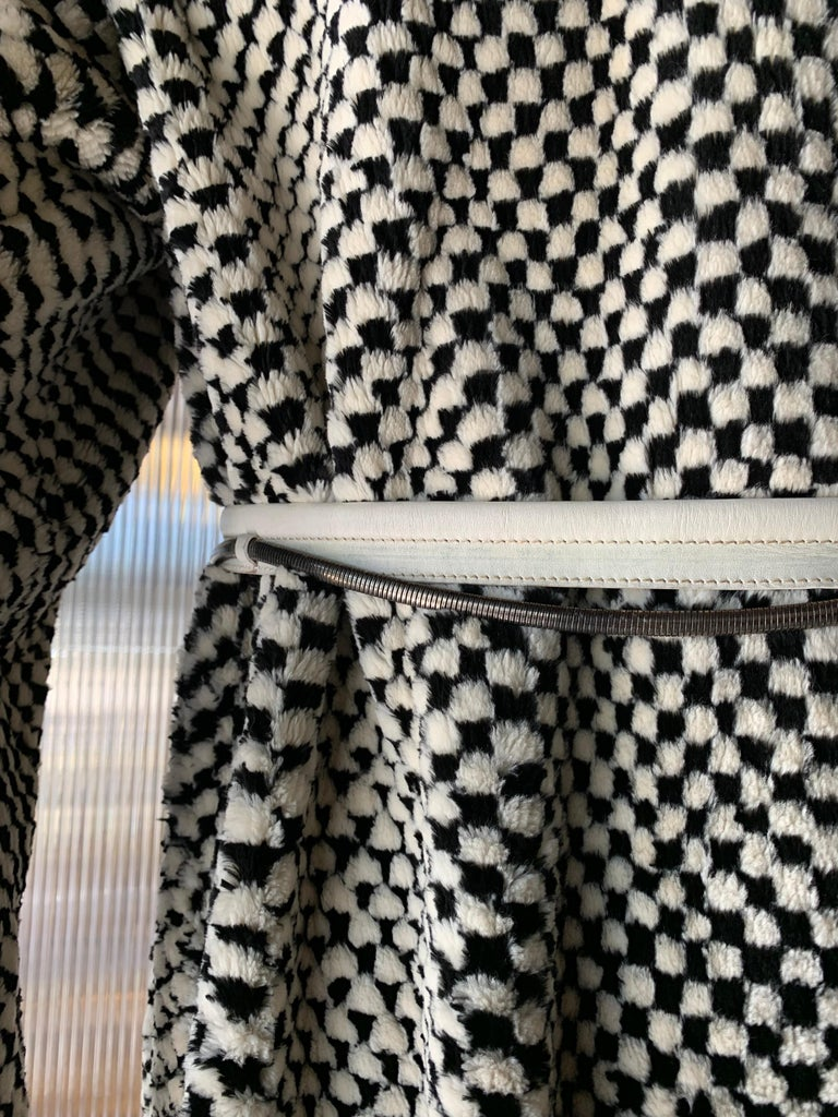 1980s Givenchy Couture Checkerboard Sheared Beaver Coat W/ Black Fur Front Trim For Sale 5