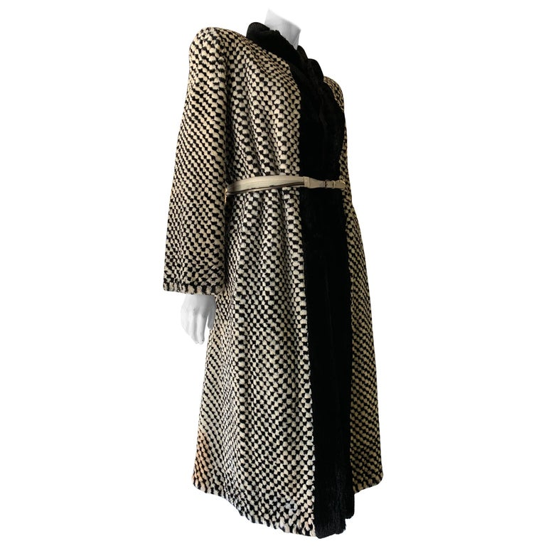 1980s Givenchy Couture Checkerboard Sheared Beaver Coat W/ Black Fur Front Trim For Sale