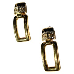 1980s Givenchy Doorknocker Earrings in Gold Plate and Swarovski Crystal