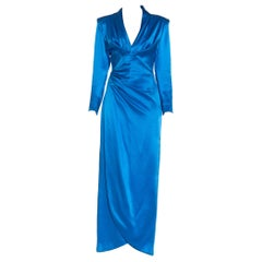 1980S GIVENCHY Electric Blue Haute Couture Silk Double Faced Satin Sleeved Gown