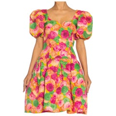 1980S GIVENCHY Floral Print Haute Couture Silk Summer Cocktail Dress With Poof