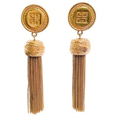 1980s Givenchy Gold-tone Logo Tassel Earrings