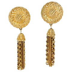 1980s Givenchy Gold Tone Tassel Clip-on Earrings