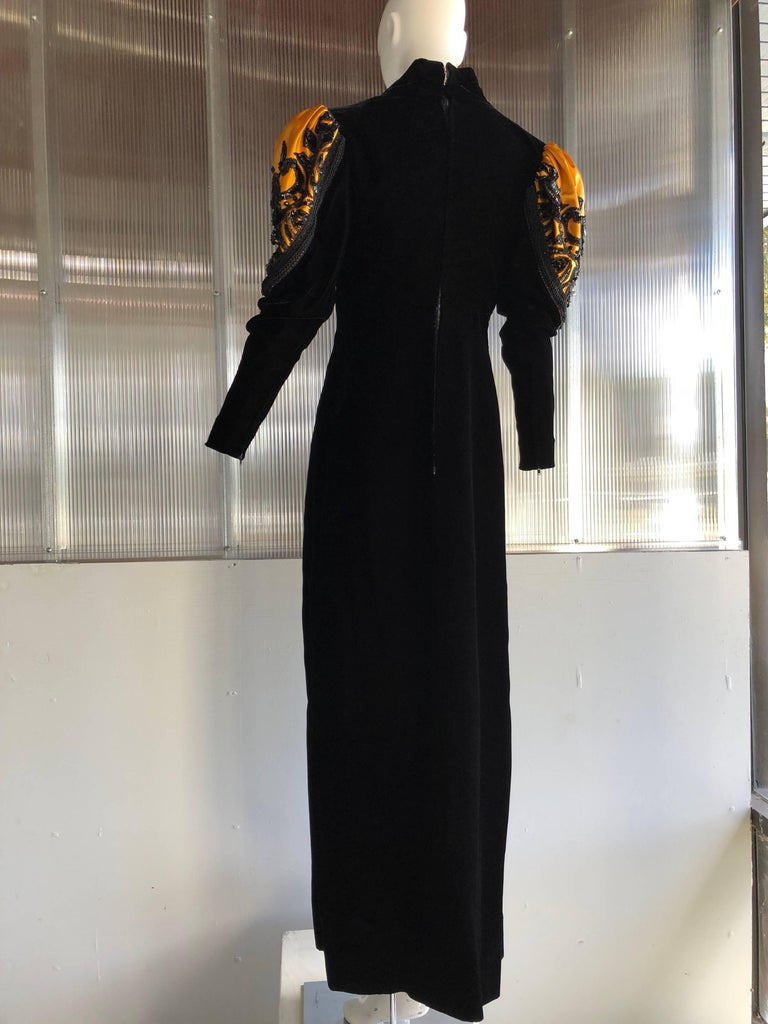 1980s Givenchy Medieval Style Black Velvet Gown with Black Jet Beading  In Excellent Condition For Sale In San Francisco, CA